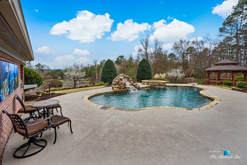 2219 Costley Mill Rd NE, Conyers, GA, USA - Backyard Pool and Waterfall - Luxury Real Estate - Equestrian Country Home