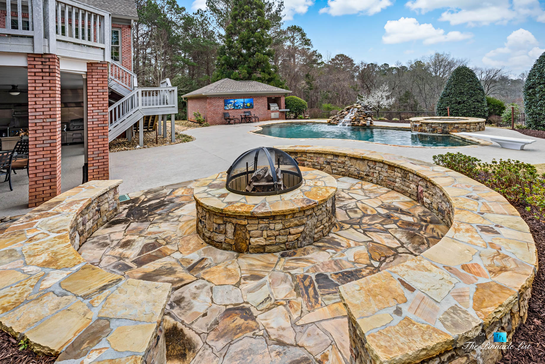 2219 Costley Mill Rd NE, Conyers, GA, USA - Backyard Fire Pit with Hot Tub and Pool - Luxury Real Estate - Equestrian Country Home
