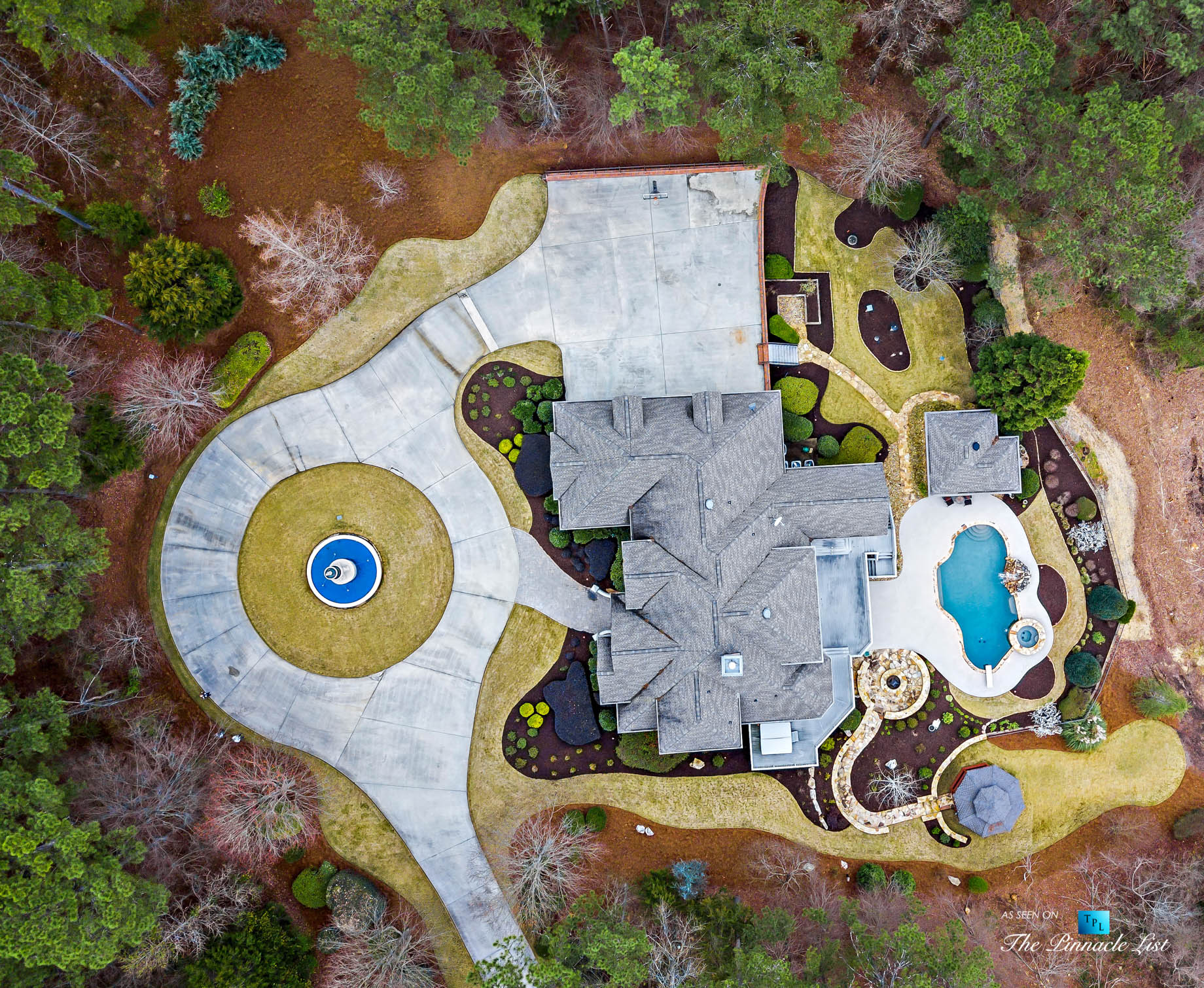 2219 Costley Mill Rd NE, Conyers, GA, USA - Drone Aerial Overhead Property View - Luxury Real Estate - Equestrian Country Home