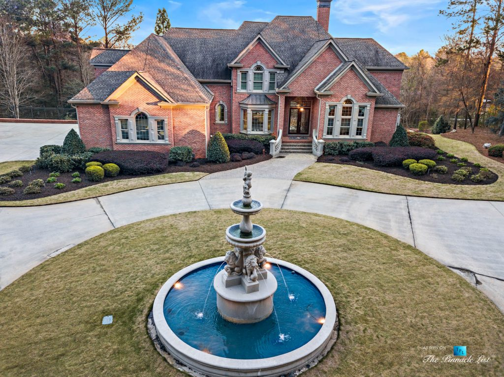 2219 Costley Mill Rd NE, Conyers, GA, USA - Drone Aerial Property Fountain View - Luxury Real Estate - Equestrian Country Home