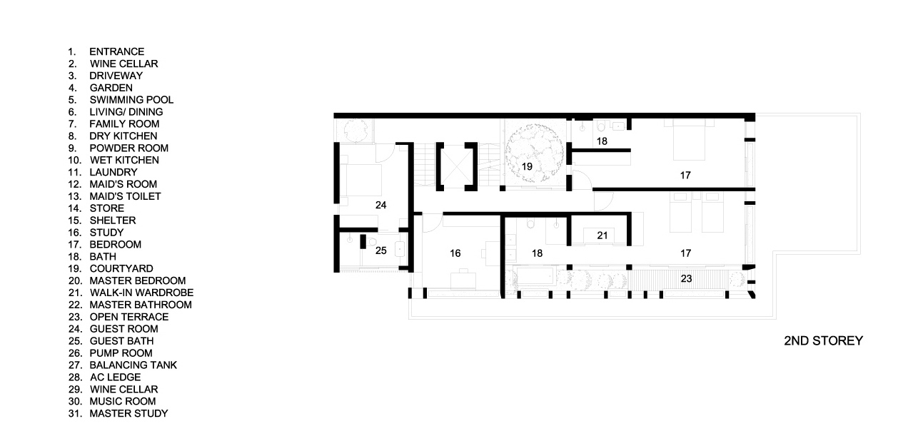 Second Floor Plans - Verdant Verandah Luxury House - Princess of Wales Rd, Singapore