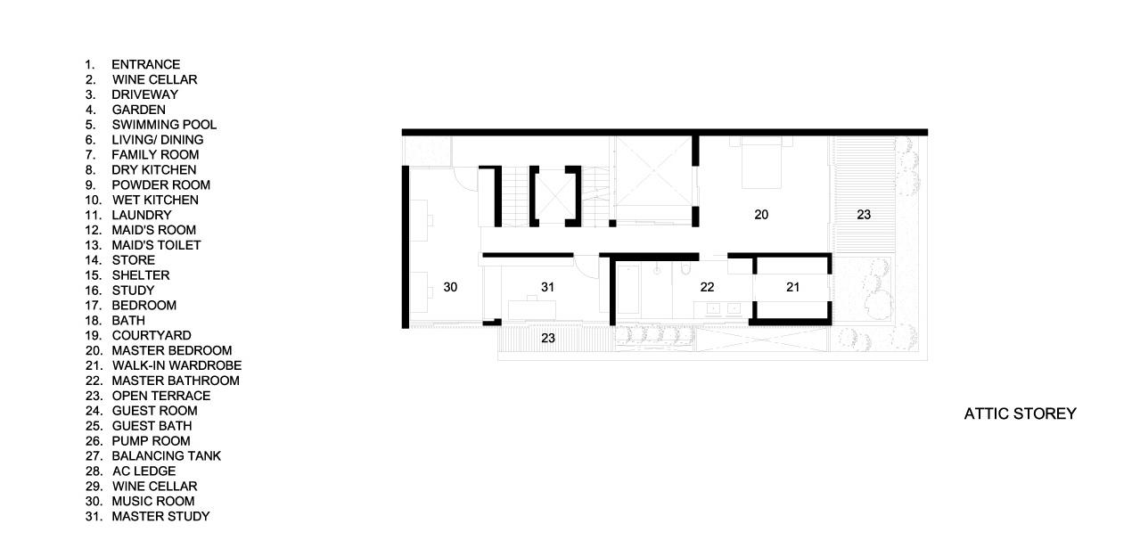 Attic Floor Plans - Verdant Verandah Luxury House - Princess of Wales Rd, Singapore