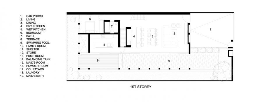 First Floor Plans - Concrete Light House Residence - Greenleaf Drive, Singapore