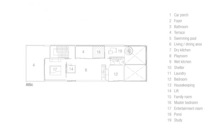Attic Floor Plan - Discreetly Detached Luxury Home - Princess of Whales Rd, Singapore