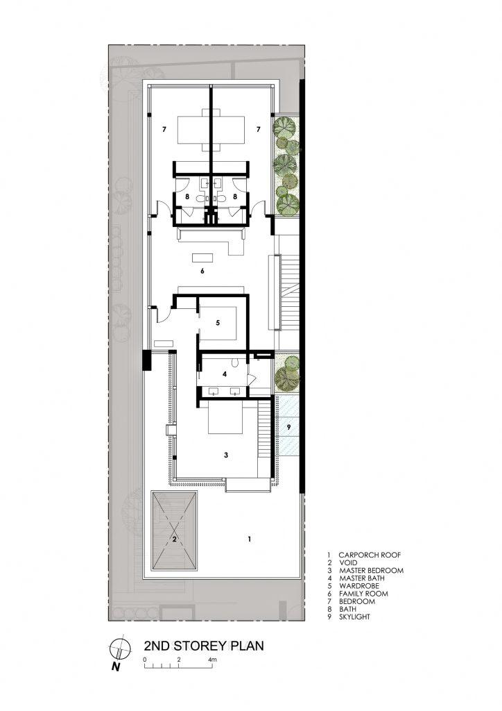 Second Floor Plan - Far Sight House Luxury Residence - Bukit Timah, Singapore