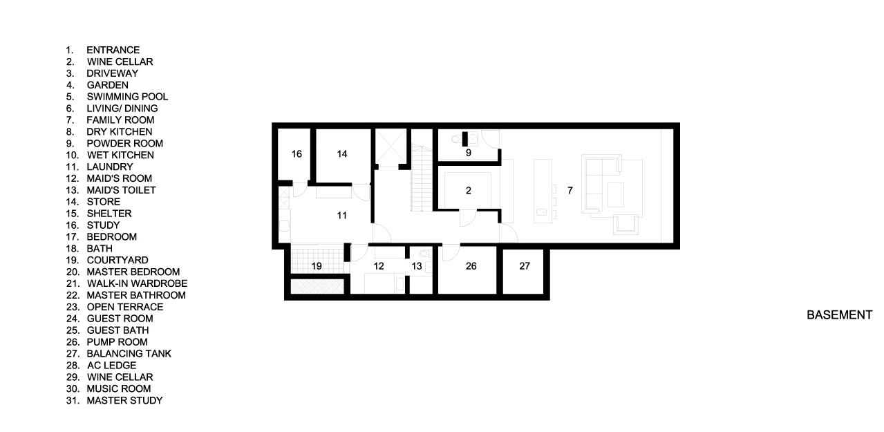 Basement Floor Plans - Verdant Verandah Luxury House - Princess of Wales Rd, Singapore