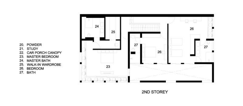 Second Floor Plans - Concrete Light House Residence - Greenleaf Drive, Singapore