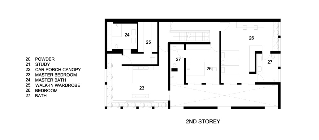 Second Floor Plans - Concrete Light House Residence - Greenleaf Drive, Singapore