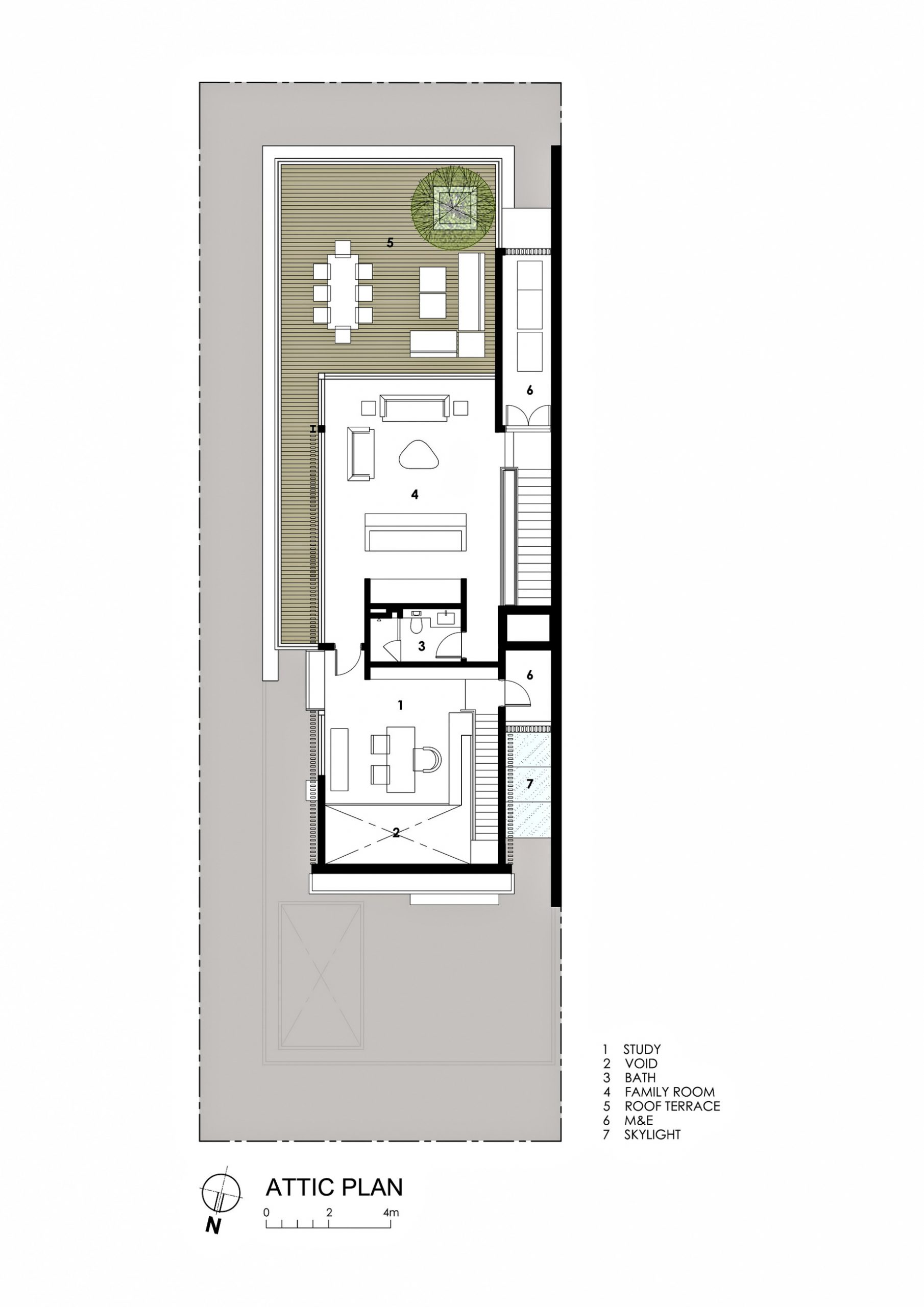 Attic Floor Plan - Far Sight House Luxury Residence - Bukit Timah, Singapore