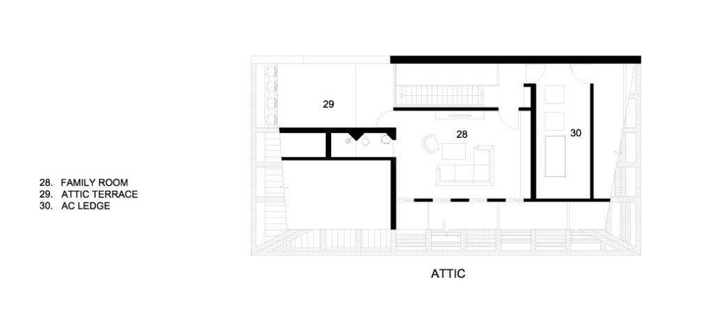 Attic Floor Plans - Concrete Light House Residence - Greenleaf Drive, Singapore