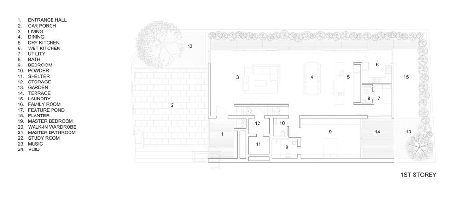 First Floor Plan - Cascading Courts Luxury House - Faber Drive, Singapore