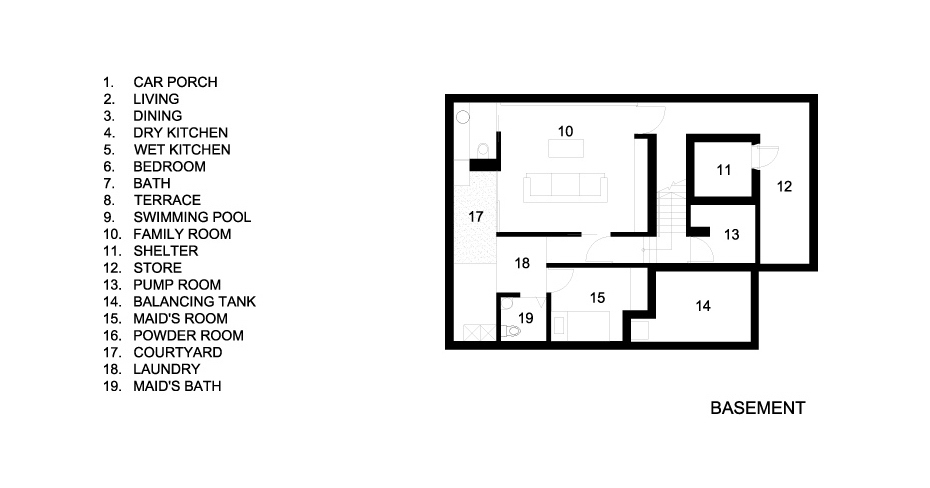 Basement Floor Plans - Concrete Light House Residence - Greenleaf Drive, Singapore