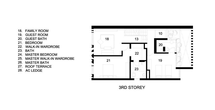 Third Floor Plan - Custom Shades Luxury House - West Coast Grove, Singapore