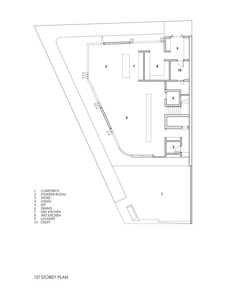 First Floor Plans - Bamboo Veil House Luxury Residence - Bukit Timah, Singapore