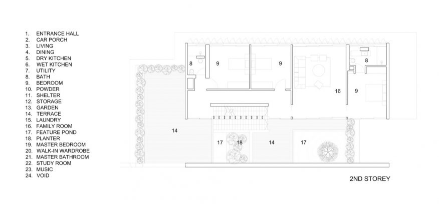Second Floor Plan - Cascading Courts Luxury House - Faber Drive, Singapore