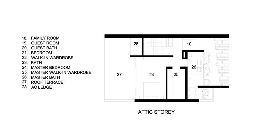 Attic Floor Plan – Custom Shades Luxury House – West Coast Grove, Singapore