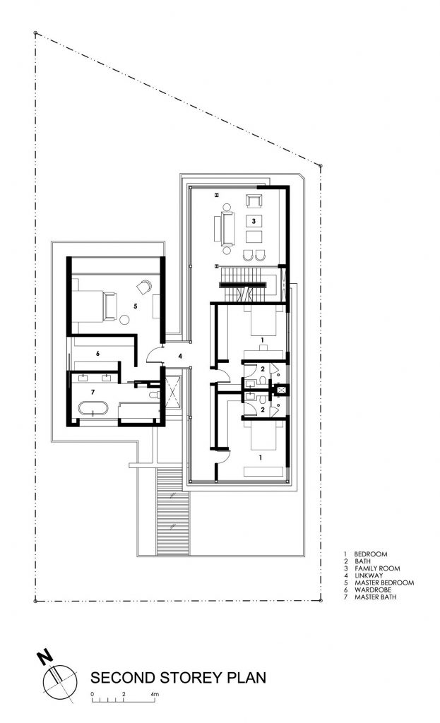 Second Floor Plan - Travertine Dream House Luxury Residence - Serangoon, Singapore