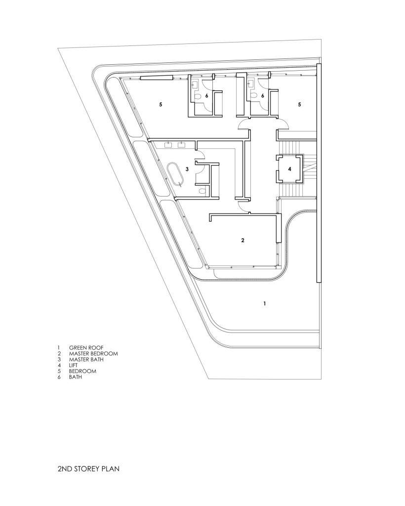 Second Floor Plans - Bamboo Veil House Luxury Residence - Bukit Timah, Singapore