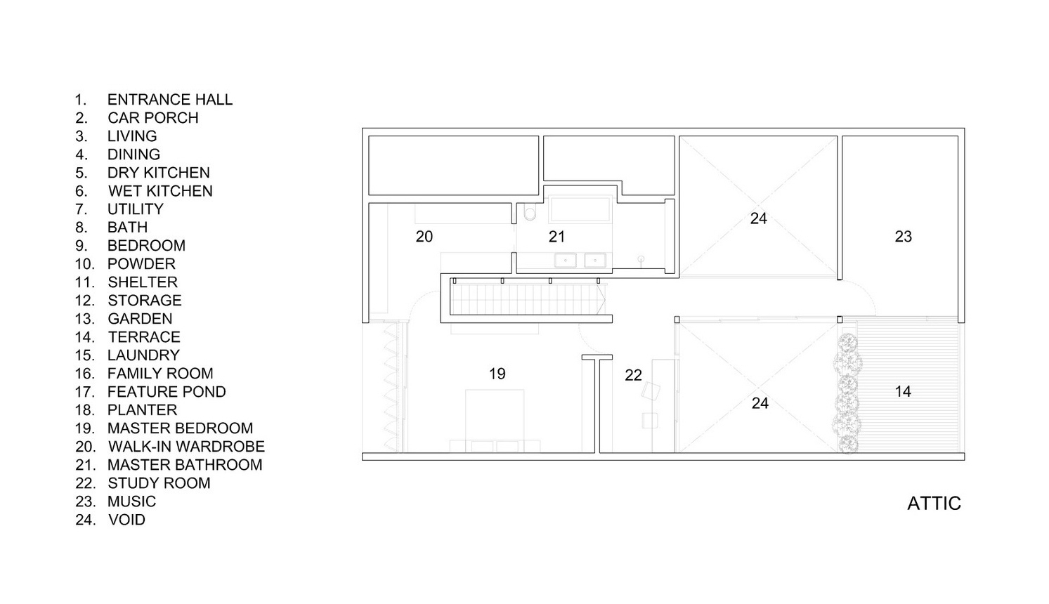 Attic Floor Plan - Cascading Courts Luxury House - Faber Drive, Singapore