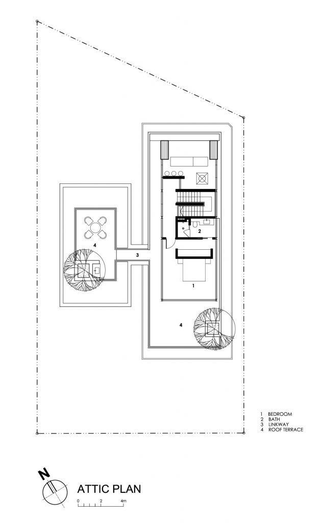 Attic Floor Plan - Travertine Dream House Luxury Residence - Serangoon, Singapore