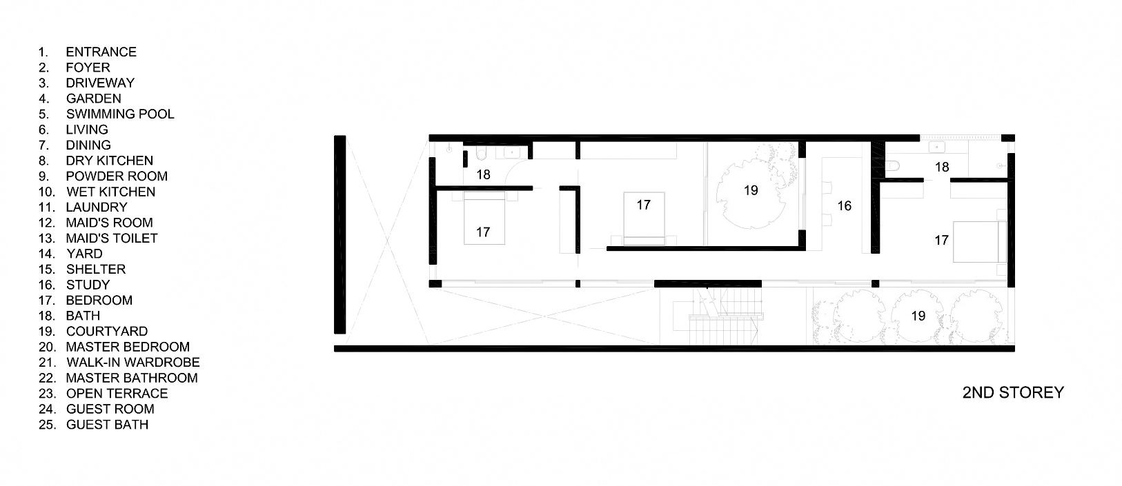 Second Floor Plan – The Space Between Walls House – Prices of Wales Rd, Singapore