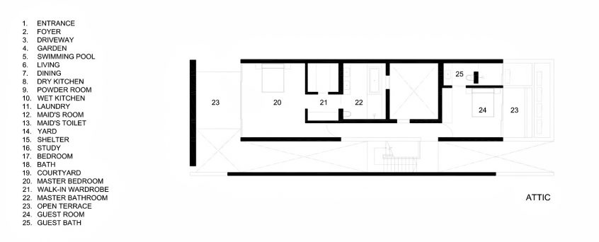 Attic Second Floor Plan - The Space Between Walls House - Prices of Wales Rd, Singapore