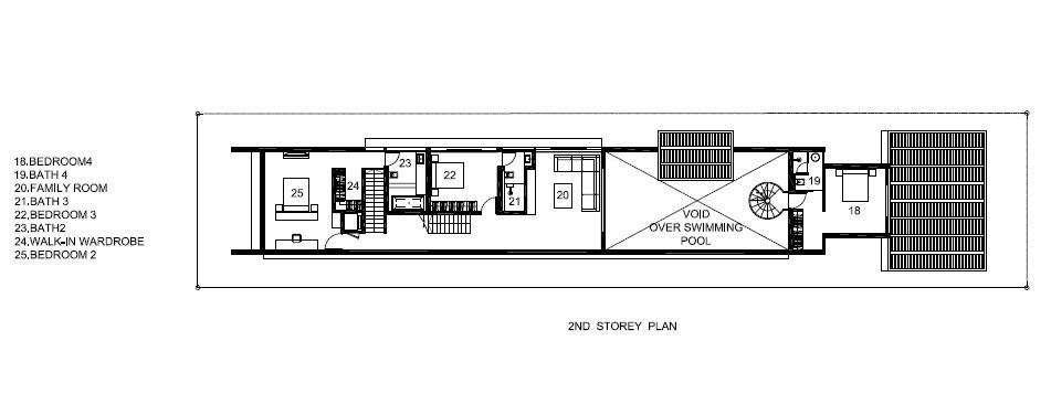 Second Floor Plan - Bridge Over Water House - Jalan Angin Laut, Singapore