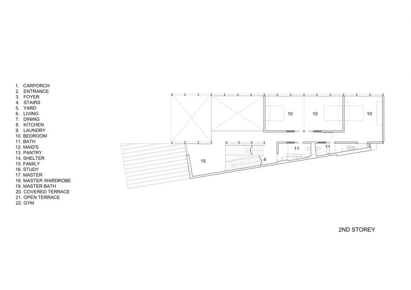 Second Floor Plan - Lines of Light Luxury Residence - Faber Terrace, Singapore