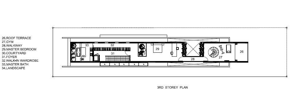 Third Floor Plan - Bridge Over Water House - Jalan Angin Laut, Singapore