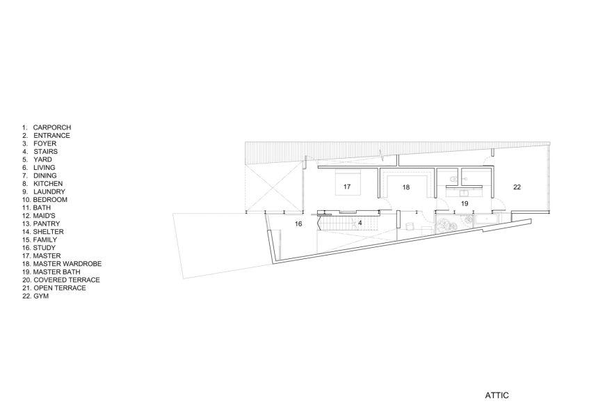 Attic Floor Plan - Lines of Light Luxury Residence - Faber Terrace, Singapore