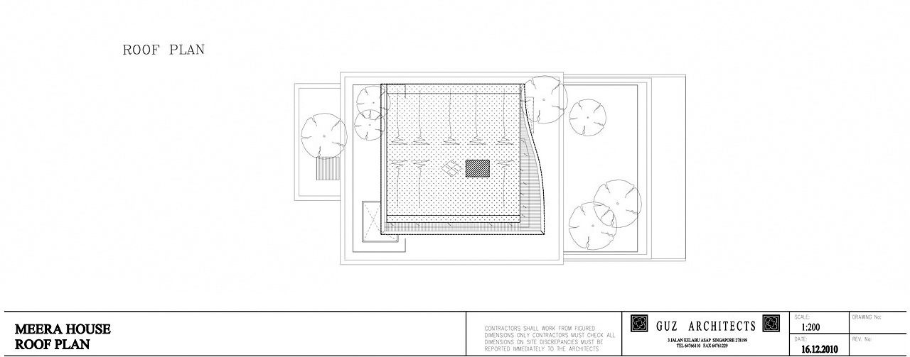 Roof Floor Plan - Meera Sky Garden House - Cove Grove, Sentosa Island, Singapore