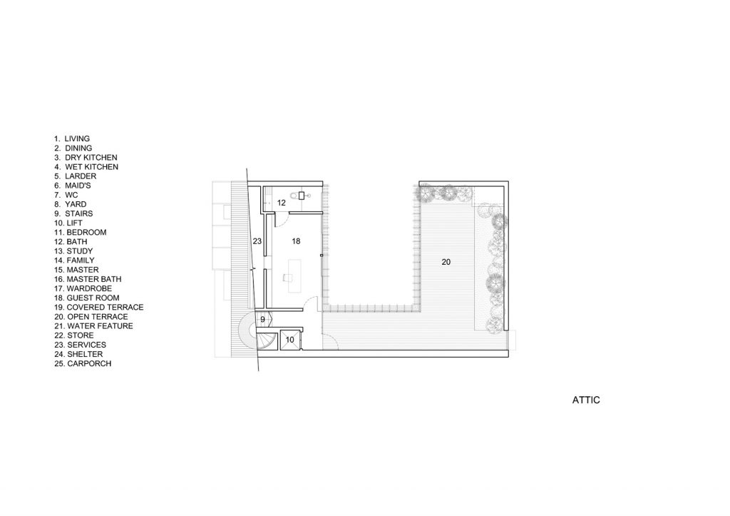 Attic Floor Plan - Vertical Court Luxury Residence - Greenbank Park, Singapore