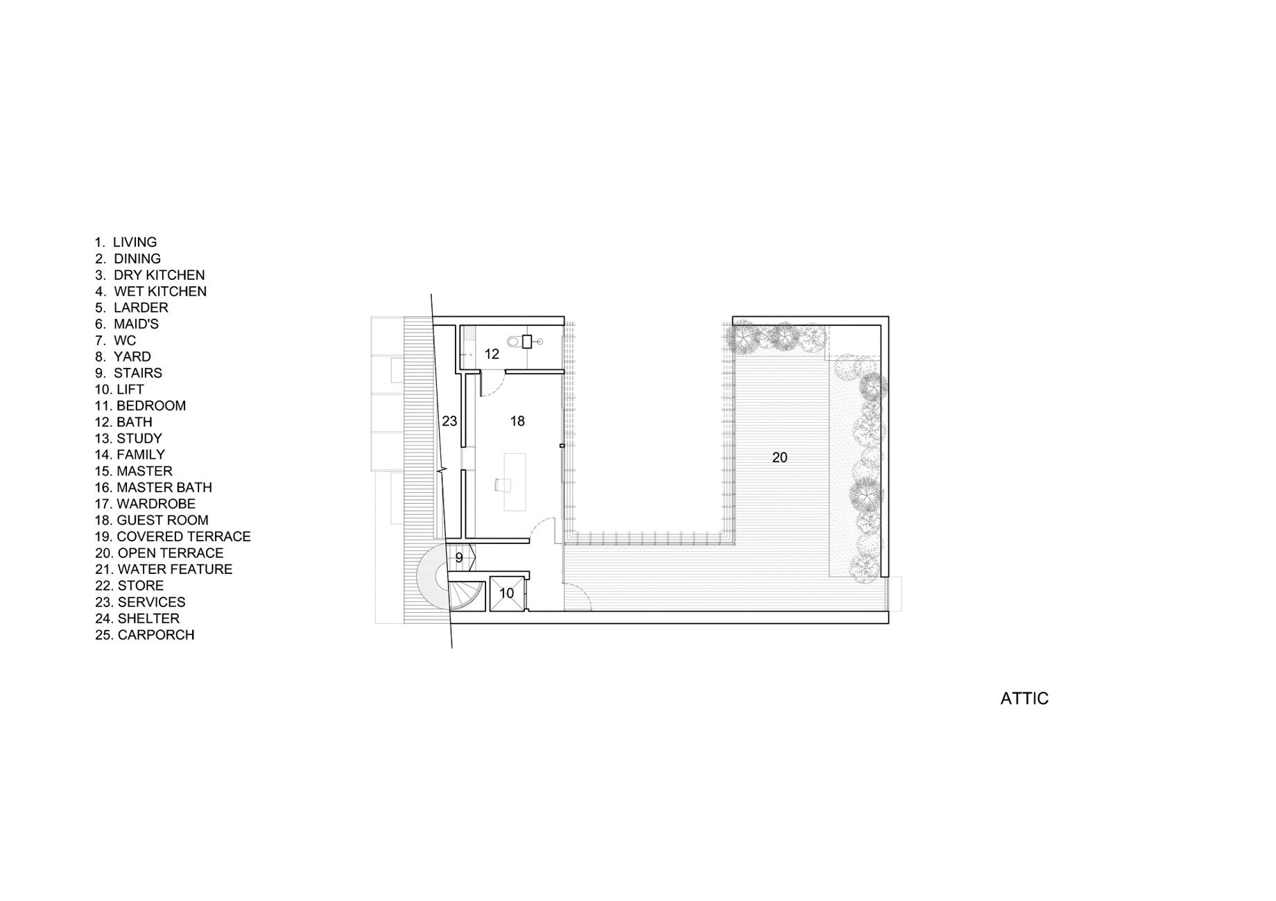 Attic Floor Plan - Vertical Court Luxury Residence - Greenbank Park, Singapore