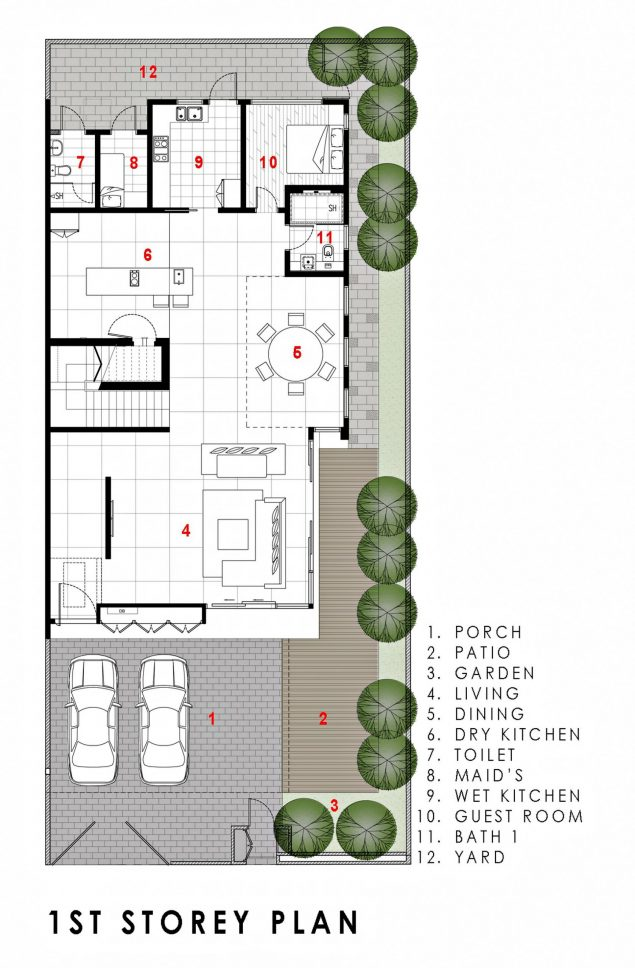 First Floor Plan - Green Wall House Luxury Residence - Singapore