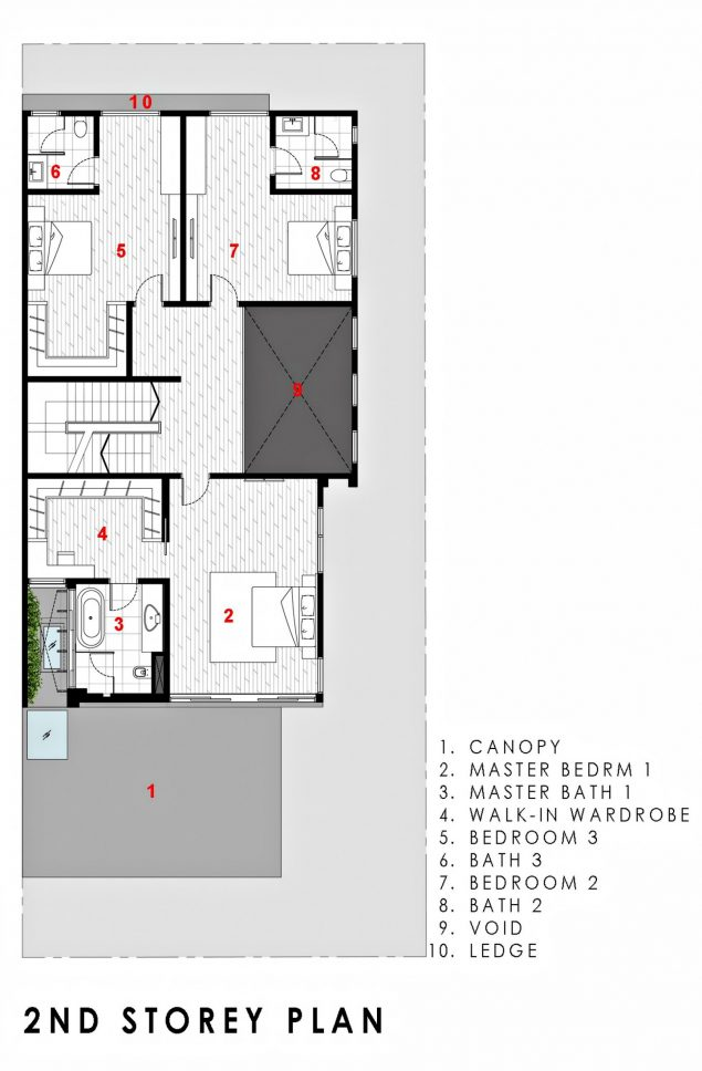 Second Floor Plan - Green Wall House Luxury Residence - Singapore