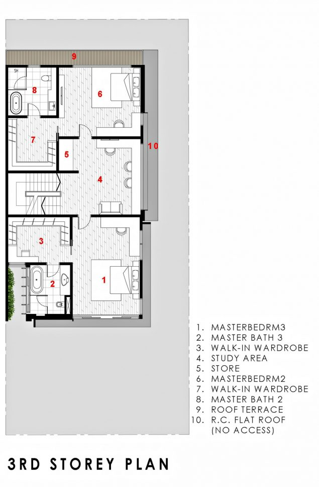 Third Floor Plan - Green Wall House Luxury Residence - Singapore
