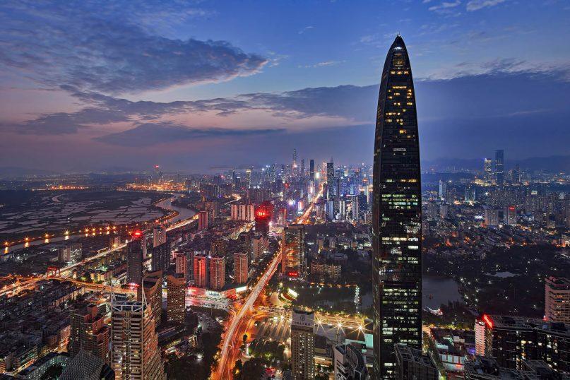 The St. Regis Shenzhen Luxury Hotel - Shenzhen, China - Night Exterior