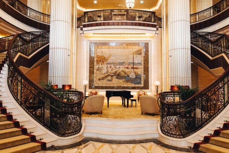 The St. Regis Abu Dhabi Luxury Hotel - Abu Dhabi, United Arab Emirates - Lobby Staircase