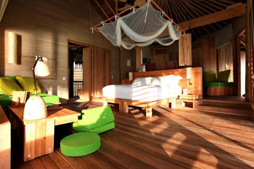Six Senses Laamu Luxury Resort - Laamu Atoll, Maldives - Lagoon Water Villa Bedroom