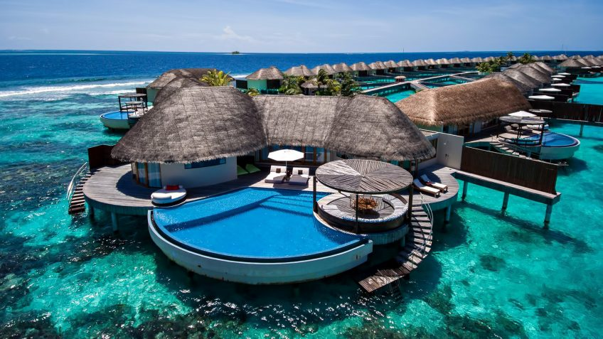 W Maldives Luxury Resort - Fesdu Island, Maldives - Overwater Bungalow Infinity Pool Aerial