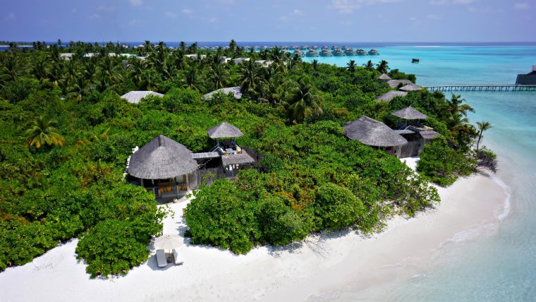 Six Senses Laamu Luxury Resort - Laamu Atoll, Maldives - Ocean Villa Beachfront Aerial