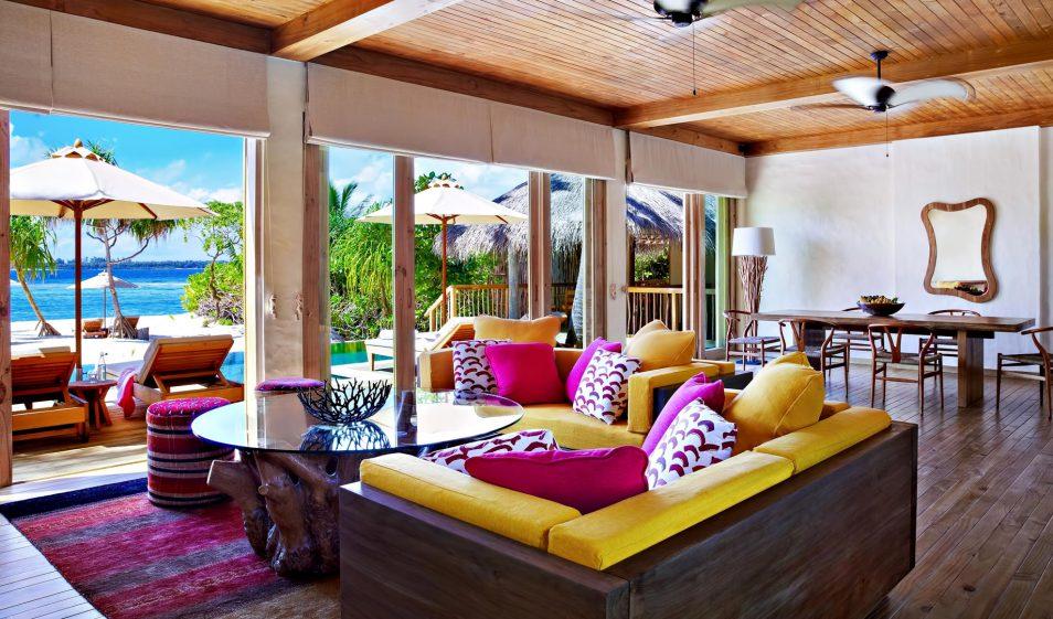 Six Senses Laamu Luxury Resort - Laamu Atoll, Maldives - Two Bedroom Ocean Beachfront Villa Living Room