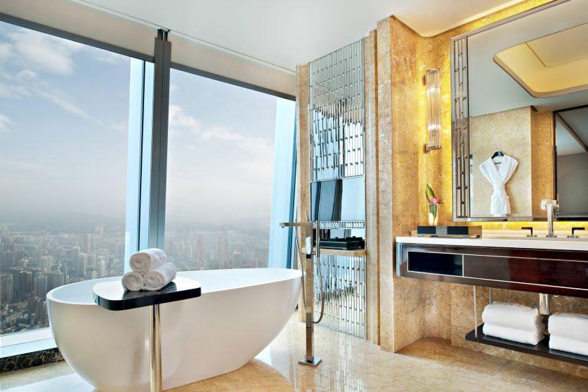 The St. Regis Shenzhen Luxury Hotel - Shenzhen, China - Fortune Guest Bathroom City View