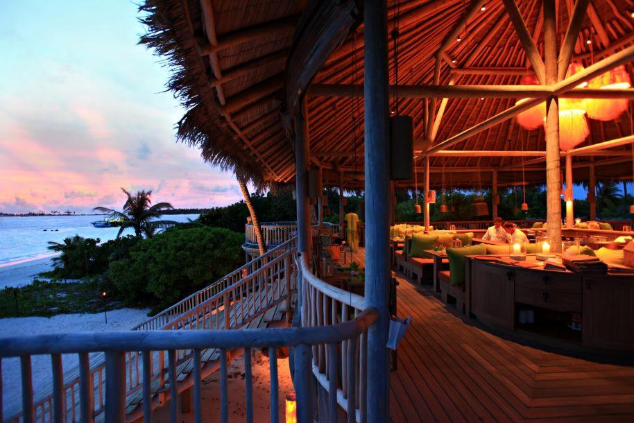 Six Senses Laamu Luxury Resort - Laamu Atoll, Maldives - Leaf Restaurant Sunset