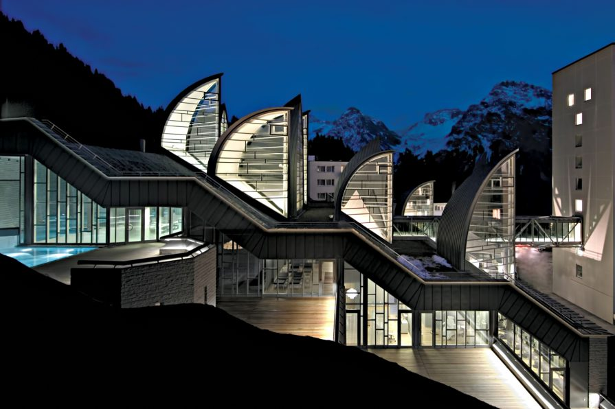 Tschuggen Grand Luxury Hotel - Arosa, Switzerland - Night Exterior