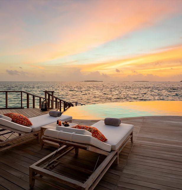 The Nautilus Maldives Luxury Resort - Thiladhoo Island, Maldives - Overwater Residence Lounge Chairs Sunset