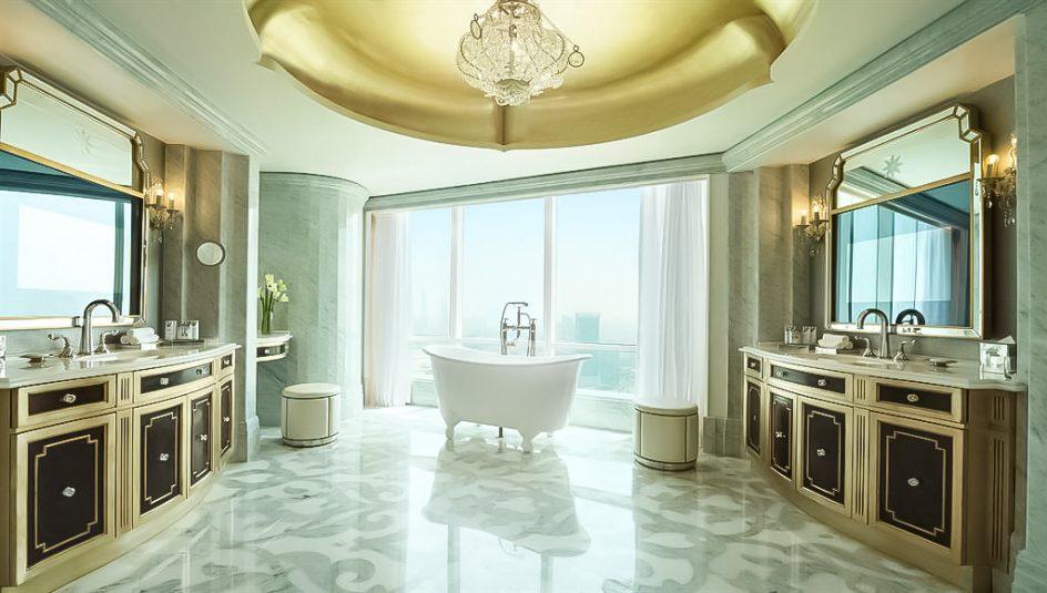 The St. Regis Abu Dhabi Luxury Hotel - Abu Dhabi, United Arab Emirates - Regal Bathroom Freestanding Bathtub