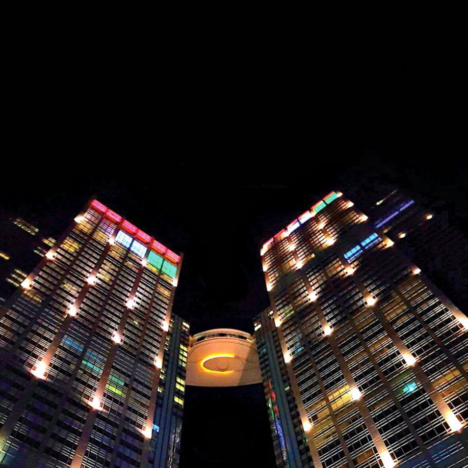 The St. Regis Abu Dhabi Luxury Hotel - Abu Dhabi, United Arab Emirates - Night Tower View
