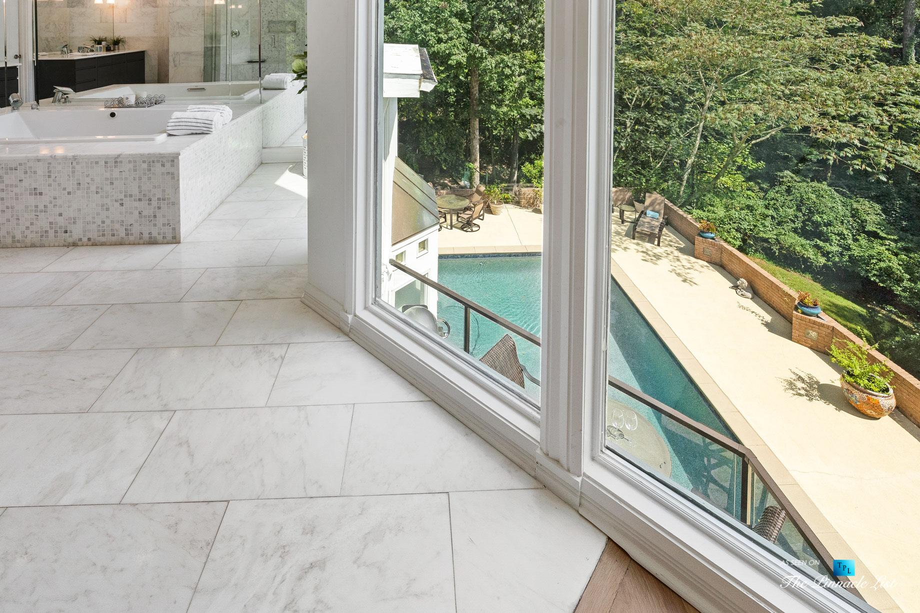 3906 Paces Ferry Rd NW, Atlanta, GA, USA – Master Bathroom Overlooking Pool – Luxury Real Estate – Buckhead Home