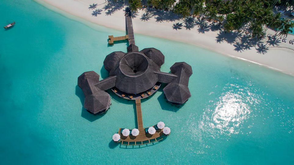 Gili Lankanfushi Luxury Resort - North Male Atoll, Maldives - Overwater Bar Aerial